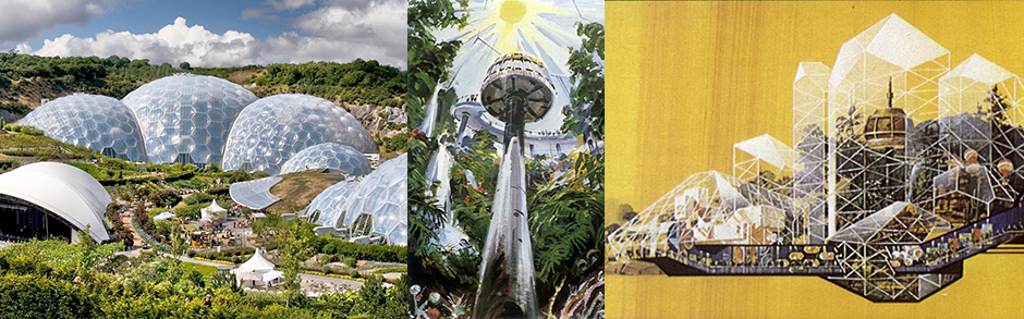 The Eden Project - Cornwall + Early Concept Art for the Land Pavilion at Epcot